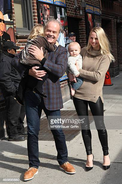 Kelsey Grammer and Kayte Grammer with children Faith Grammer and Kelsey Gabriel Elias Grammer at Late Show With David Letterman on March 11 2015 in...
