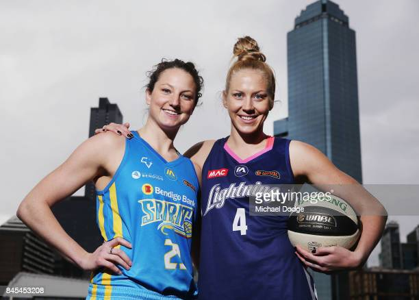 Kelsey Griffin Bendigo Spirit and Abby Bishop Adelaide Lightning pose during the 2017/18 NBL and WNBL Season Launch at Crown Towers on September 11...