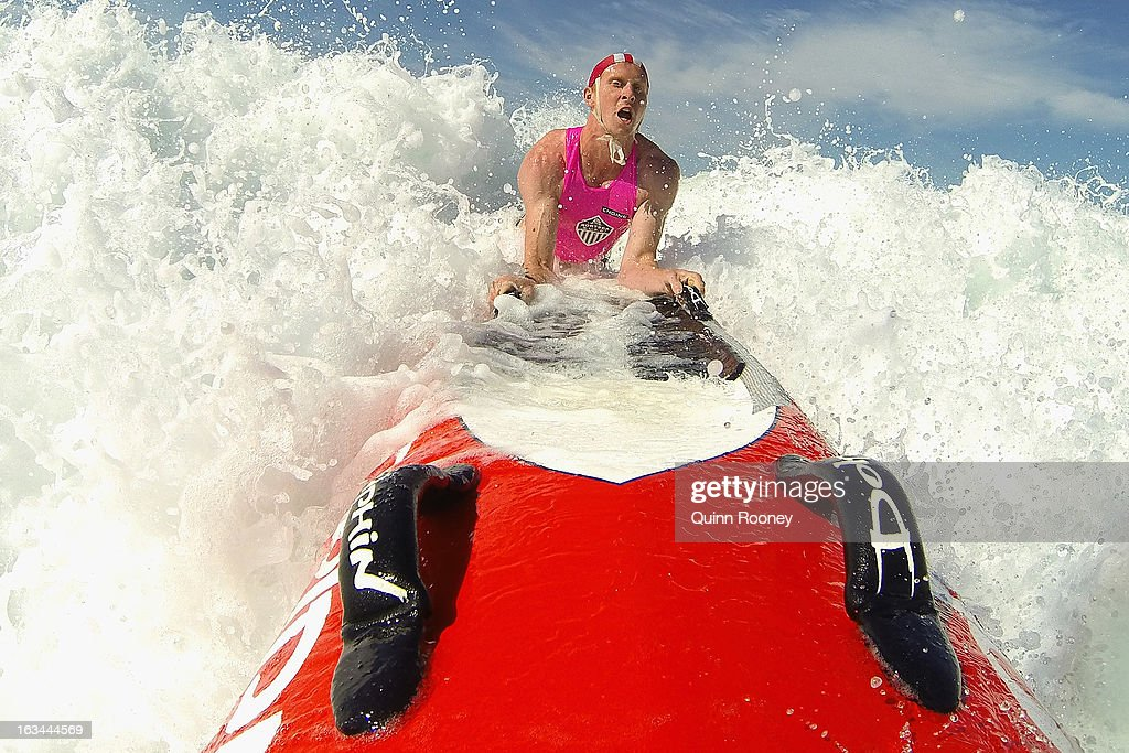 Kelsey Hill of Portsea Lifesaving Club warms up during the Victorian Surf Lifesaving Championships on March 10, 2013 in Anglesea, Australia.