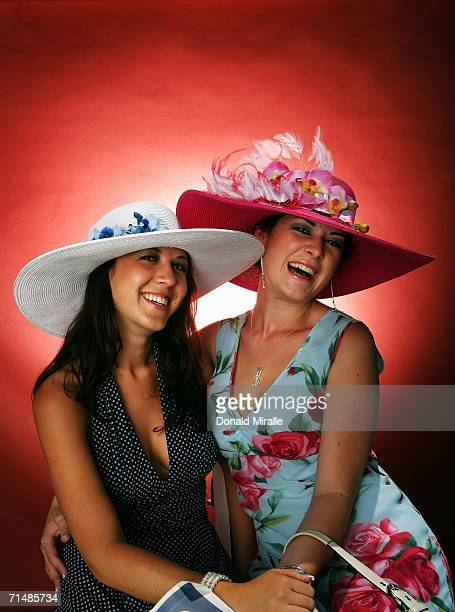 Kelsey McKeever and Kalena Lorrain of San Diego pose for a portrait while competing in the 11th Annual 'One and Only Truly Fabulous Hat Contest'...