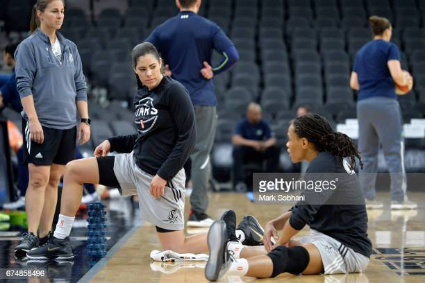 Kelsey Plum and Monique Currie of the San Antonio Stars stretch before the game against the Dallas Wings during the WNBA Preseason on April 29 2017...
