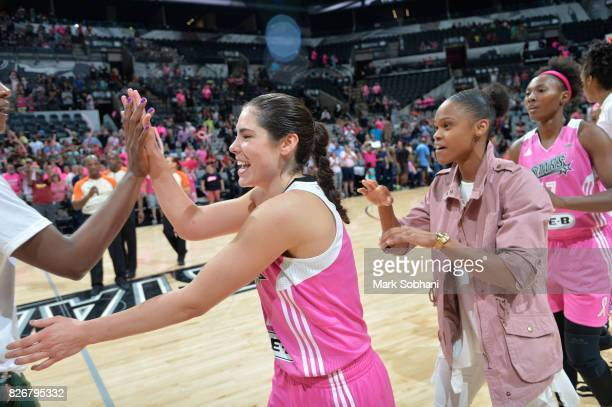 Kelsey Plum and Moriah Jefferson of the San Antonio Stars celebrate a win against the Seattle Storm on August 5 2017 at the ATT Center in San Antonio...