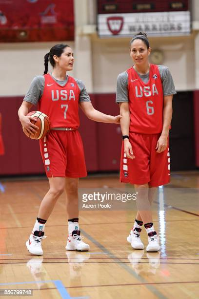 Kelsey Plum and Sue Bird of the 2017 USA Women's National Team during training camp at Westmont College on September 30 2017 in Santa Barbara...
