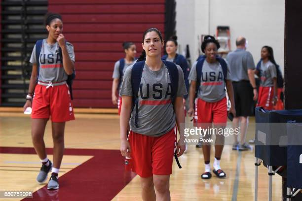 Kelsey Plum of the 2017 USA Women's National Team arrives for practice during training camp at Westmont College on September 30 2017 in Santa Barbara...