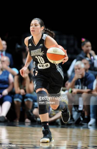 Kelsey Plum of the San Antonio Stars brings the ball up court against the Phoenix Mercury on July 7 2017 at the ATT Center in San Antonio Texas NOTE...