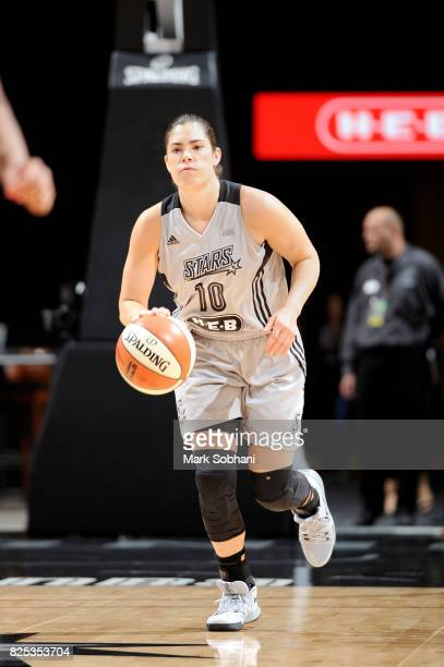 Kelsey Plum of the San Antonio Stars brings the ball up court during the game against the New York Liberty during a WNBA game on August 1 2017 at the...