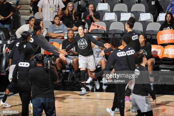 Kelsey Plum of the San Antonio Stars gets introduced before the game against the Atlanta Dream on August 12 2017 at the ATT Center in San Antonio...