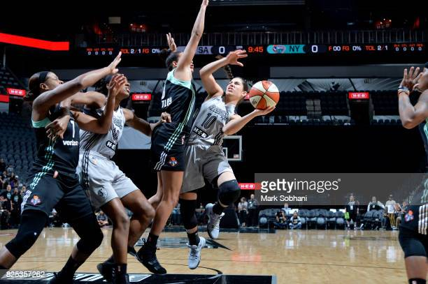 Kelsey Plum of the San Antonio Stars goes for a lay up during the game against the New York Liberty during a WNBA game on August 1 2017 at the ATT...