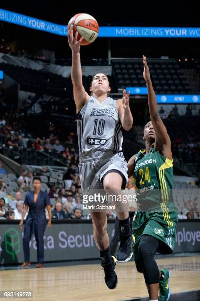 Kelsey Plum of the San Antonio Stars goes to the basket against the Seattle Storm on June 6 2017 at ATT Center in San Antonio Texas NOTE TO USER User...
