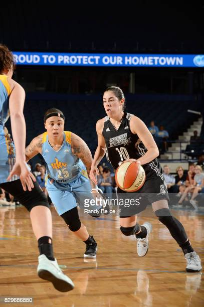 Kelsey Plum of the San Antonio Stars handles the ball against Makayla Epps of the Chicago Sky on August 10 2017 at the Allstate Arena in Rosemont...