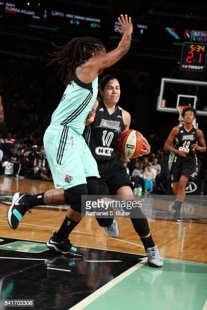 Kelsey Plum of the San Antonio Stars handles the ball against the New York Liberty on September 1 2017 at Madison Square Garden in New York New York...