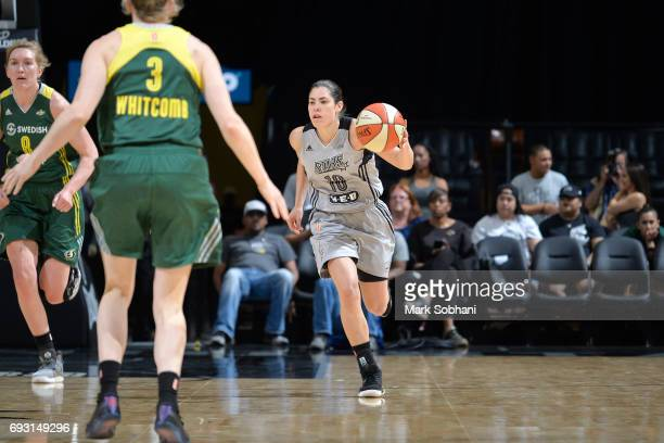 Kelsey Plum of the San Antonio Stars handles the ball against the Seattle Storm on June 6 2017 at ATT Center in San Antonio Texas NOTE TO USER User...