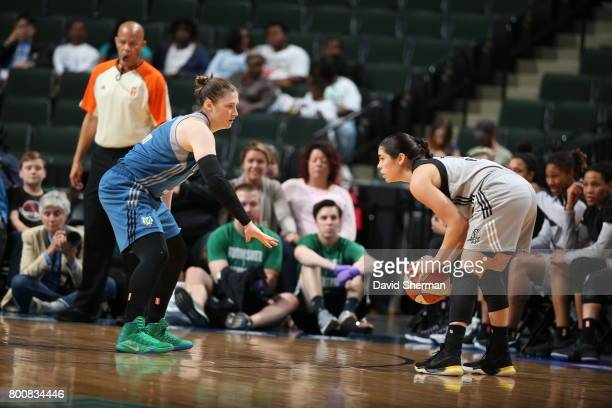 Kelsey Plum of the San Antonio Stars handles the ball against the Minnesota Lynx on June 25 2017 at Xcel Energy Center in St Paul Minnesota NOTE TO...
