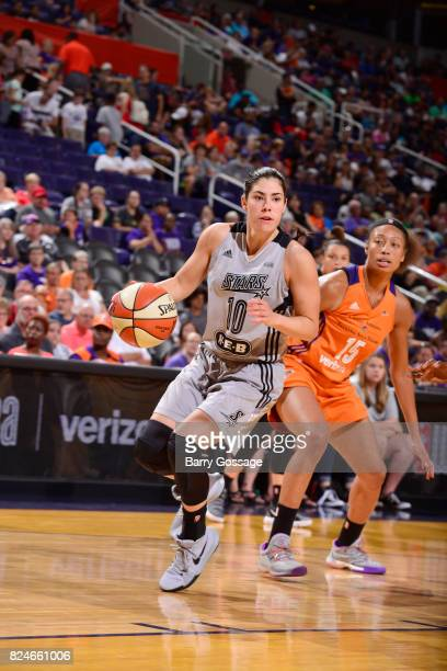Kelsey Plum of the San Antonio Stars handles the ball against the Phoenix Mercury on July 30 2017 at Talking Stick Resort Arena in Phoenix Arizona...