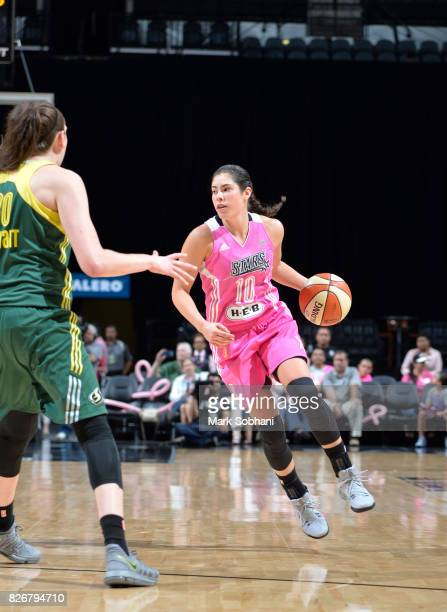 Kelsey Plum of the San Antonio Stars handles the ball against the Seattle Storm on August 5 2017 at the ATT Center in San Antonio Texas NOTE TO USER...