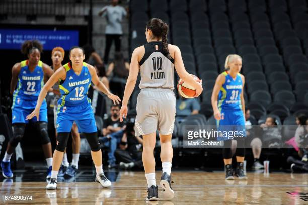 Kelsey Plum of the San Antonio Stars handles the ball during the game against the Dallas Wings during the WNBA Preseason on April 29 2017 at the ATT...