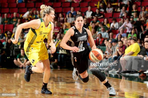 Kelsey Plum of the San Antonio Stars handles the ball during the game against the Seattle Storm during a WNBA game on August 18 2017 at Key Arena in...