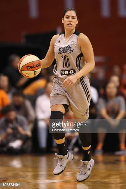 Kelsey Plum of the San Antonio Stars handles the ball during the WNBA game against the Phoenix Mercury at Talking Stick Resort Arena on July 30 2017...