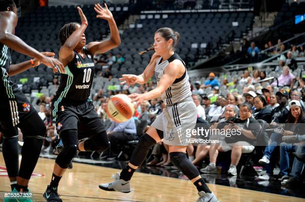Kelsey Plum of the San Antonio Stars passes the ball during the game against the New York Liberty during a WNBA game on August 1 2017 at the ATT...