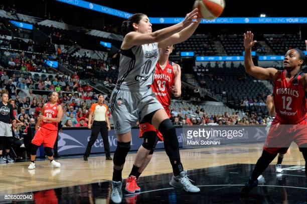 Kelsey Plum of the San Antonio Stars passes the ball during the game against the Washington Mystics during a WNBA game on August 4 2017 at the ATT...