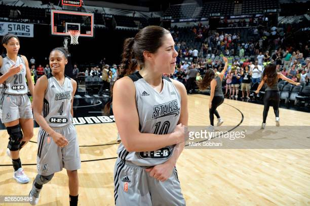 Kelsey Plum of the San Antonio Stars reacts after the game against the Washington Mystics during a WNBA game on August 4 2017 at the ATT Center in...