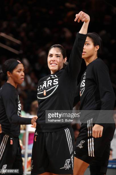 Kelsey Plum of the San Antonio Stars reacts to a play against the New York Liberty on September 1 2017 at Madison Square Garden in New York New York...