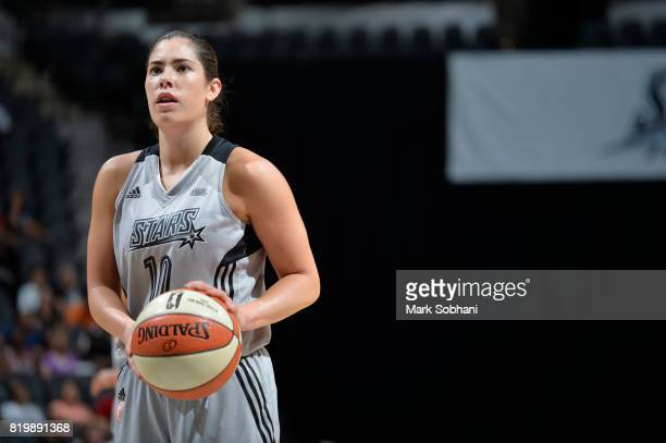 Kelsey Plum of the San Antonio Stars shoots a free throw against the Indiana Fever on July 20 2017 at the ATT Center in San Antonio Texas NOTE TO...