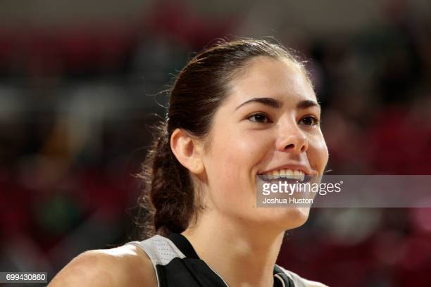 Kelsey Plum of the San Antonio Stars talks to the media after the game against the Seattle Storm on June 18 2017 at KeyArena in Seattle Washington...