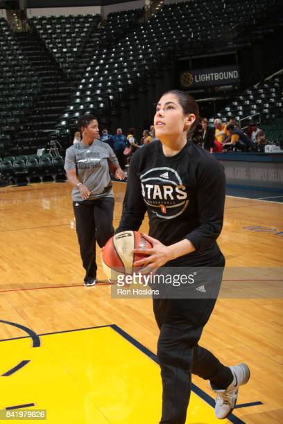 Kelsey Plum of the San Antonio Stars warms up before the game against the Indiana Fever on September 2 2017 at Bankers Life Fieldhouse in...