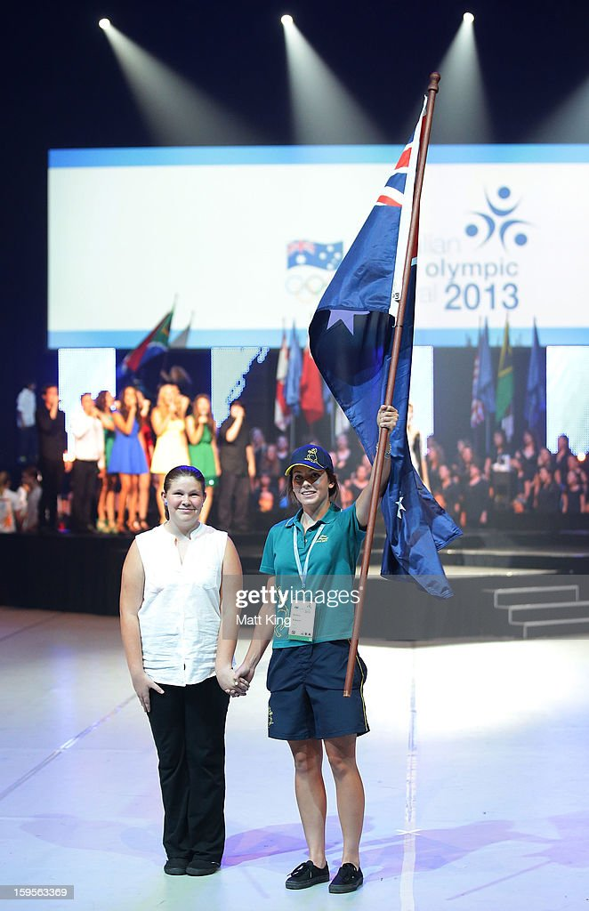 Kelsey Robson of Australia carries the Australian flag at the Australian Youth Olympic Festival Opening Ceremony during day one of the 2013 Australian Youth Olympic Festival at Sydney Entertainment Centre on January 16, 2013 in Sydney, Australia.