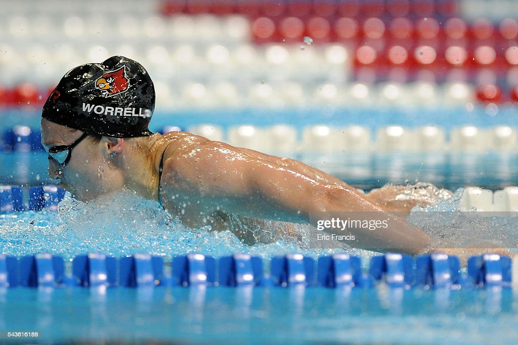 Kelsi Worrell competes in a preliminary heat of the Women's 200 Meter Butterfly during Day 4 of the 2016 U.S. Olympic Team Swimming Trials at CenturyLink Center on June 29, 2016 in Omaha, Nebraska.