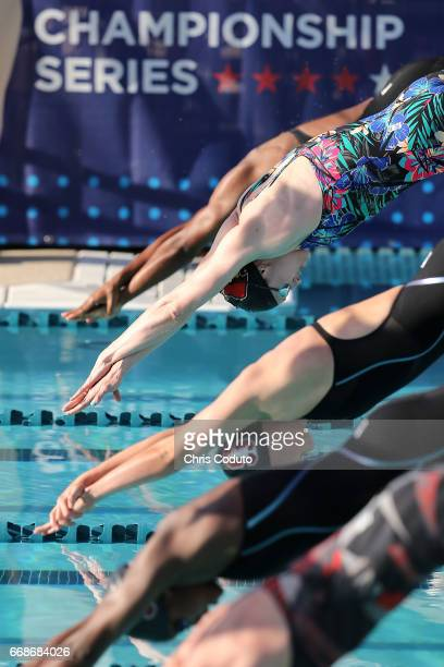 Kelsi Worrell competes in the finals of the women's 100 meter freestyle on day one of the Arena Pro Swim Series Mesa at Skyline Aquatic Center on...