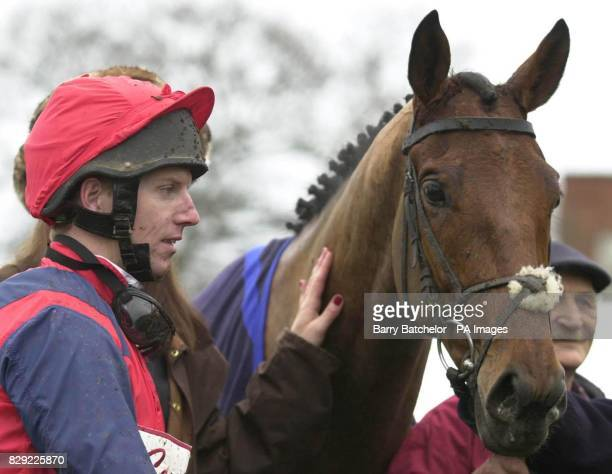 Keltic Bard and jockey Noel Fehily after winning the Cantor Sport Novices' Hurdle at Newbury