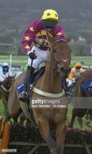 Keltic Bard with jockey Noel Fehilly at the last flight before going on to win the Royal Gloucestershire Hussars Novices' Handicap Hurdle at...