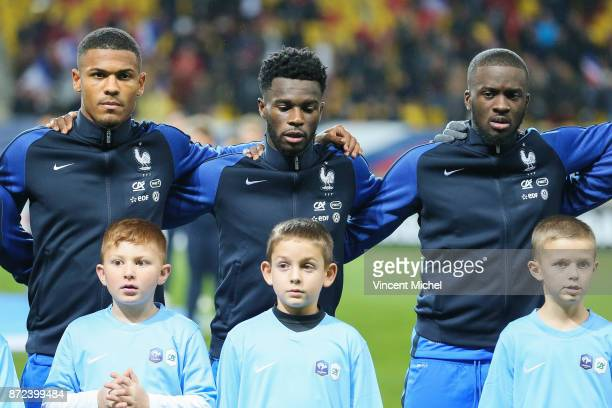 Kelvin Amian Adou Jonathan Bamba and Tanguy Ndombele of France during the Under 21s Euro 2019 qualifying match between France U21 and Bulgaria U21 on...