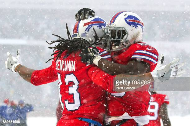 Kelvin Benjamin of the Buffalo Bills celebrates with LeSean McCoy of the Buffalo Bills after scoring a touchdown during the second quarter against...