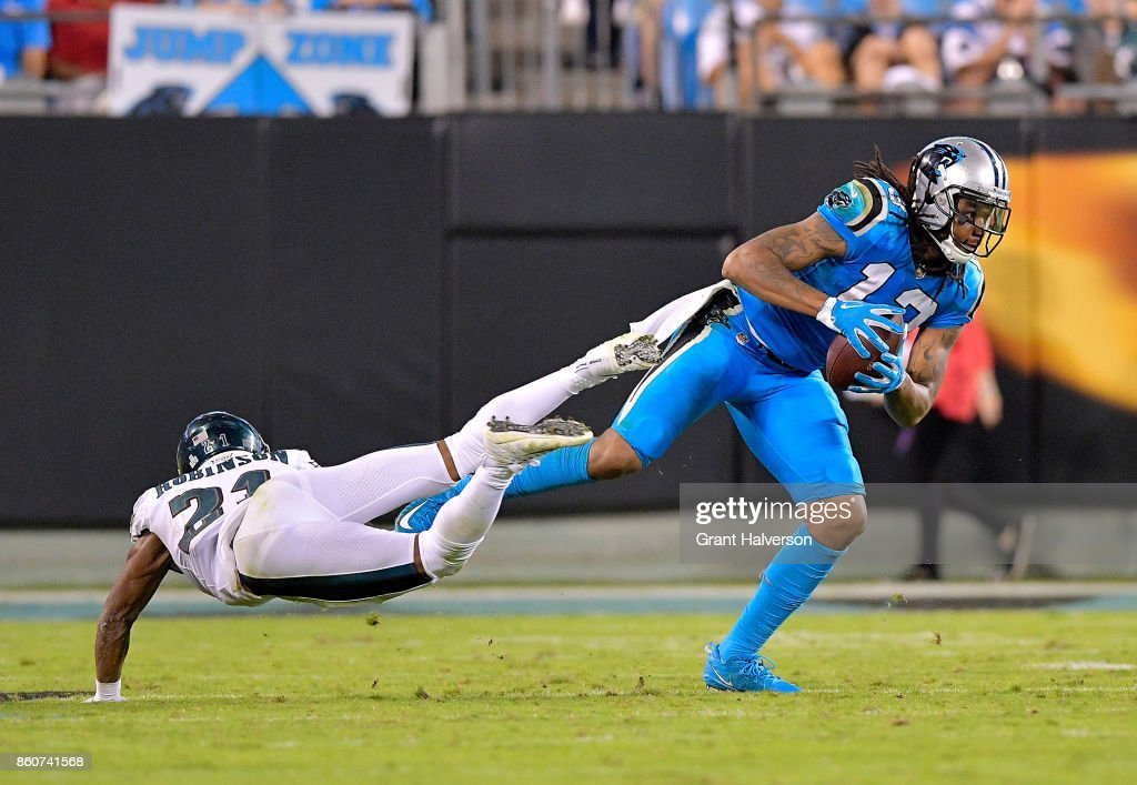 Kelvin Benjamin #13 of the Carolina Panthers fakes out Patrick Robinson #21 of the Philadelphia Eagles during their game at Bank of America Stadium on October 12, 2017 in Charlotte, North Carolina.