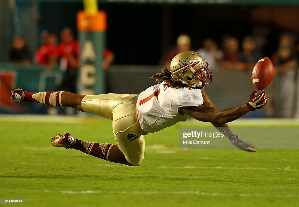 Kelvin Benjamin #1 of the Florida State Seminoles` misses a pass during a game against the Miami Hurricanes at Sun Life Stadium on October 20, 2012 in Miami Gardens, Florida.
