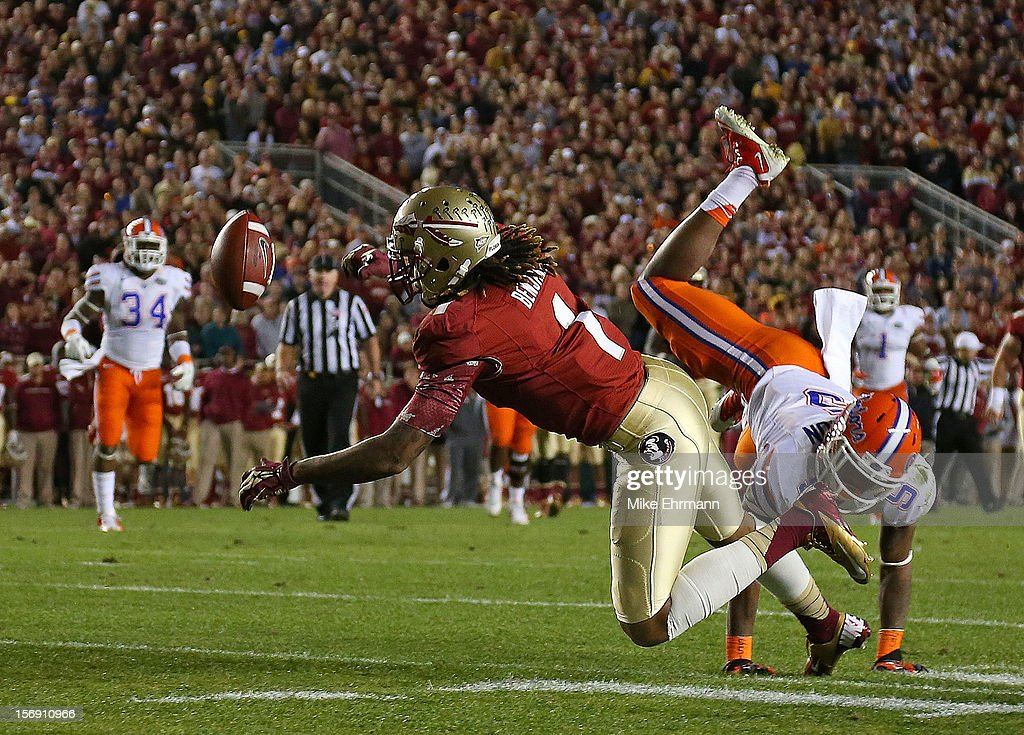 Kelvin Benjamin #1 of the Florida State Seminoles misses a pass during a game against the Florida Gators at Doak Campbell Stadium on November 24, 2012 in Tallahassee, Florida.