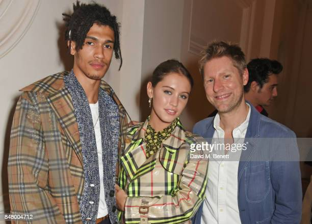 Kelvin Bueno Iris Law and Christopher Bailey wearing Burberry at the Burberry September 2017 at London Fashion Week at The Old Sessions House on...
