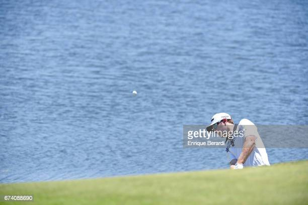 Kelvin Day of England hits out of a bunker on the 18th hole during the second round of the PGA TOUR Latinoamérica Honduras Open presented by Indura...