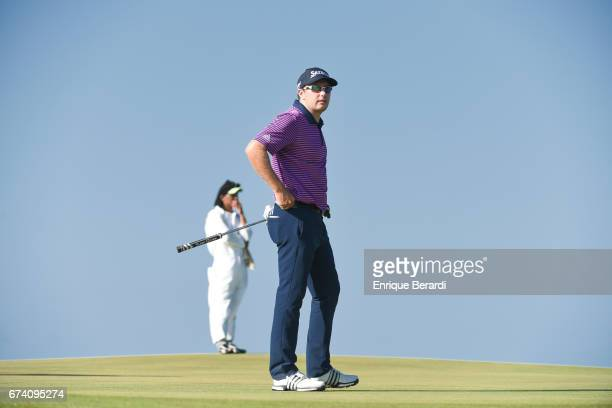 Kelvin Day of England reacts to missing a par putt on the 14th hole during the third round of the PGA TOUR Latinoamérica Honduras Open presented by...