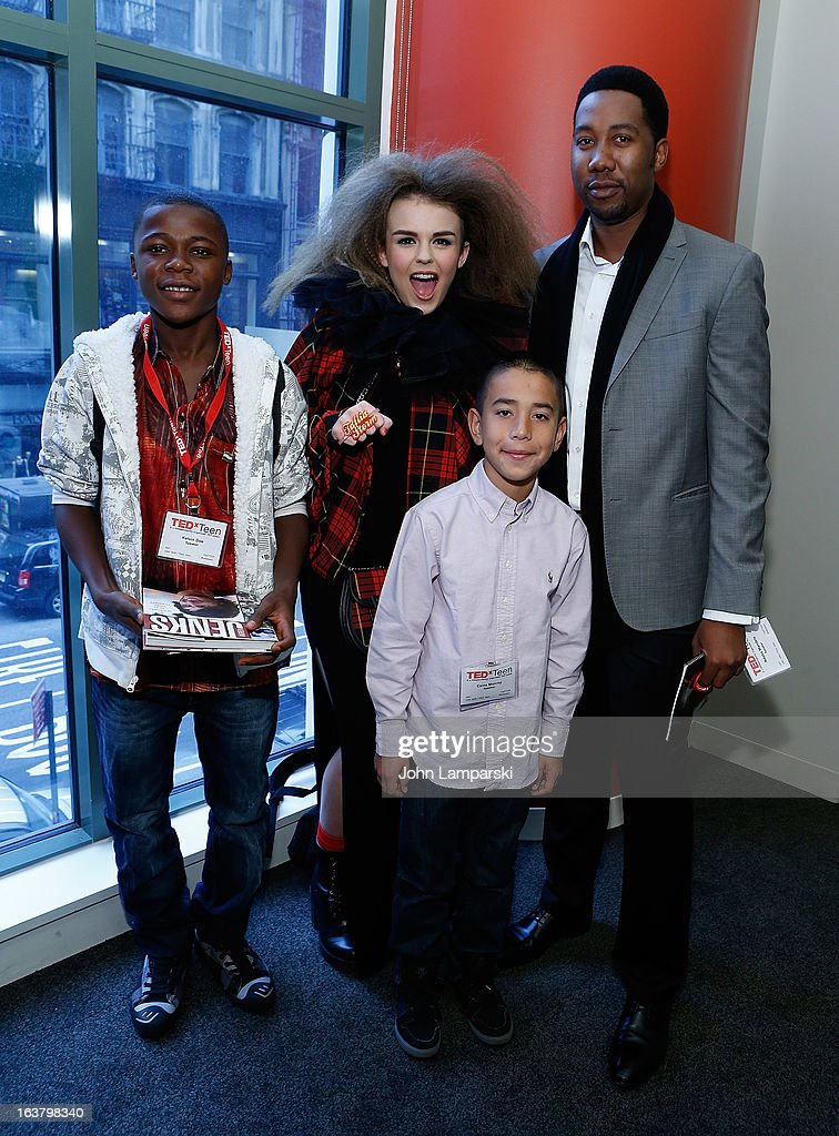 Kelvin Doe, vocalist Tallia Storm, grandson of Nelson Mandela Ndaba Mandela and app creator Caine Monroy (front) attend TEDxTeen 2013 at Scholastic Inc. Headquarters on March 16, 2013 in New York City.