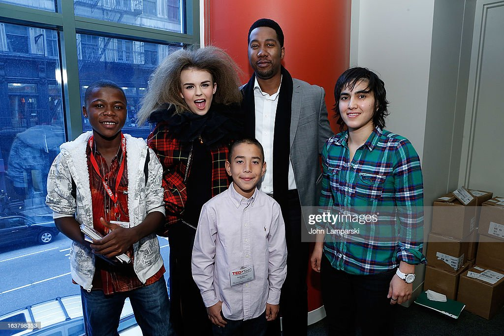 Kelvin Doe, vocalist Tallia Storm, grandson of Nelson Mandela Ndaba Mandela, Pakistan's number one Squash player Maria Toorpakai Wazir and app creator Caine Monroy (front) attend TEDxTeen 2013 at Scholastic Inc. Headquarters on March 16, 2013 in New York City.