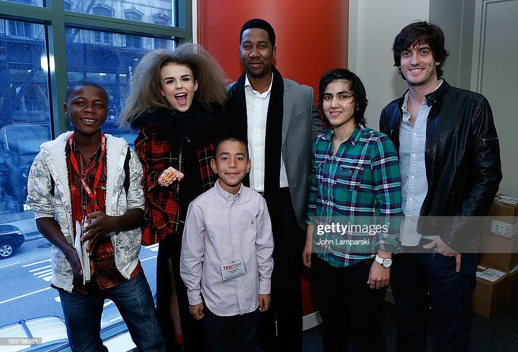 Kelvin Doe, vocalist Tallia Storm, grandson of Nelson Mandela Ndaba Mandela, Pakistan's number one Squash player Maria Toorpakai Wazir, television program creator Andrew Jenks and app creator Caine Monroy (front) attend TEDxTeen 2013 at Scholastic Inc. Headquarters on March 16, 2013 in New York City.
