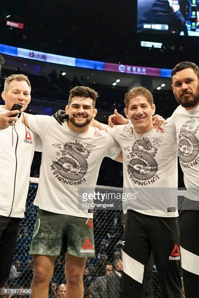 Kelvin Gastelum 2nd left poses for a photo with his team during the UFC Fight Night at MercedesBenz Arena on November 25 2017 in Shanghai China
