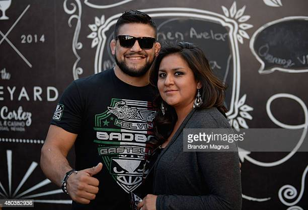 Kelvin Gastelum interacts with fans during UFC International Fight Week preconcert party at the El Cortez Hotel Casino on July 10 2015 in Las Vegas...