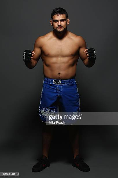 Kelvin Gastelum poses for a postfight portrait during the UFC 180 event at Arena Ciudad de Mexico on November 15 2014 in Mexico City Mexico