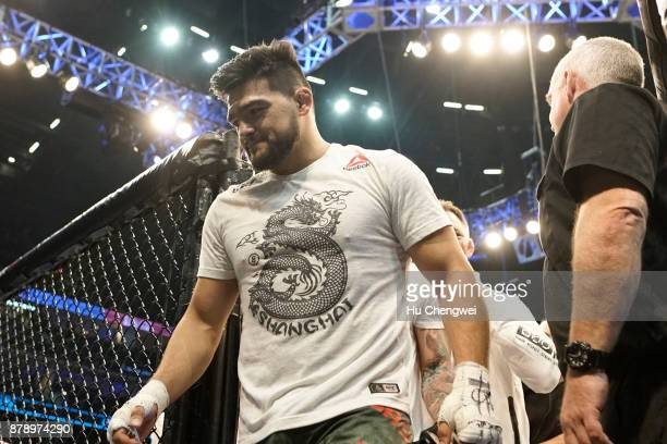 Kelvin Gastelum walks from the ring during the UFC Fight Night at MercedesBenz Arena on November 25 2017 in Shanghai China