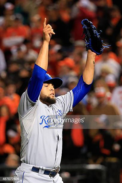 Kelvin Herrera of the Kansas City Royals celebrates at the end of the seventh inning against the Baltimore Orioles during Game Two of the American...